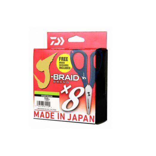 Daiwa J Braid Grand X8E 135 m 0,22 mm CH fonott zsinór + olló